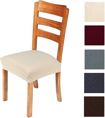 Smiry, copriseduta elastici per sedia per sala da pranzo e ufficio in tessuto jacquard, cuscini protettivi per sedia da pranzo, Beige 1. Set of 4 (