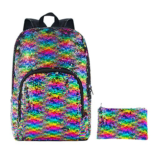 HeySun Reversible Sequins Girls Book Bag for School Backpack Magic Travel Backpack with Pen Case (Rainbow/Silver)