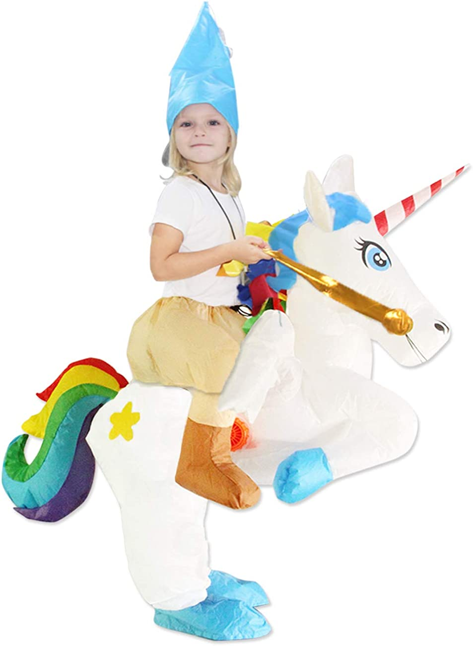 ichwill Kids Inflatable Costume Unicorn Wings Rider Halloween Inflatable Cosplay Party Costumes//Blow up Costumes