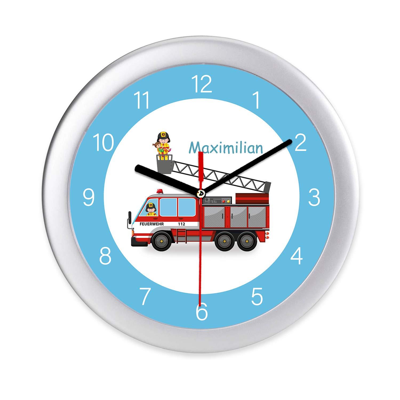 Kinderwanduhr Feuerwehr Wanduhr mit Namen Lernuhr Kinderuhr