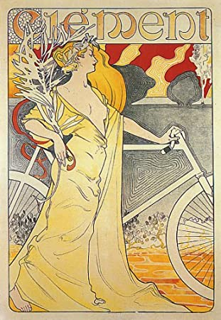 CLEMENT GIRL BICYCLE CYCLES BIKE LARGE VINTAGE POSTER REPRO
