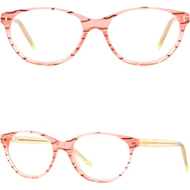 2602fbeefdb Image Unavailable. Image not available for. Color  Oval Women s Girls  Acetate Plastic Frame Spring Hinges Prescription Glasses Pink