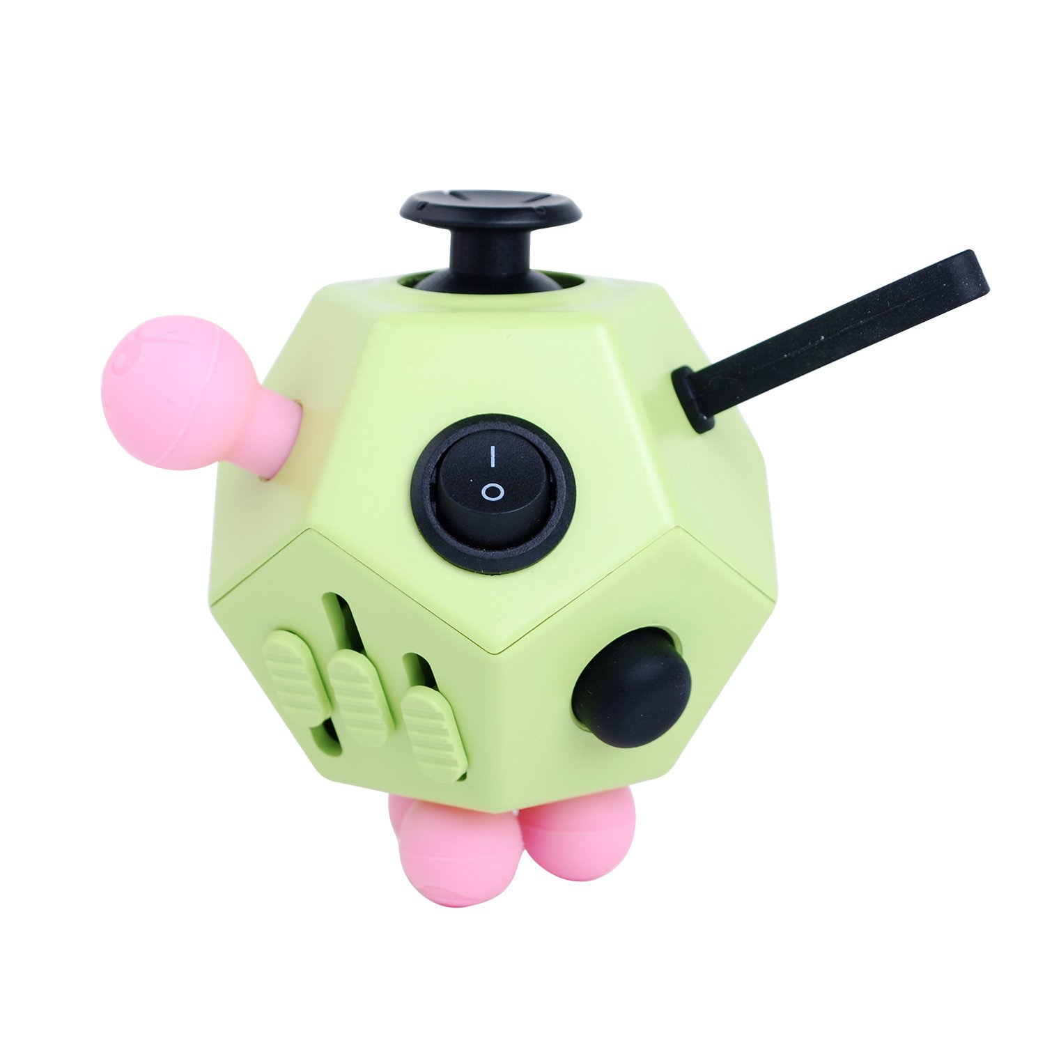Fidget Cube Toys, Relieves Stress and Increases Focus for Adults and Children with ADHD ADD OCD Autism - 12 Sides Fidget Dice (Green)