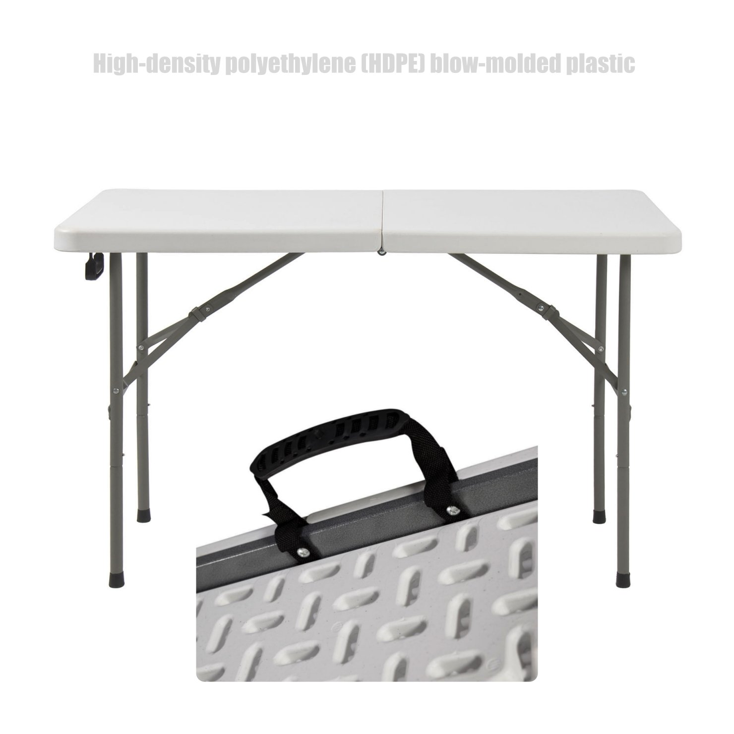 Commercial Construction Light-weight Portable High Density Plastic Folding Table Indoor-Outdoor Laptop Desk School Office Picnic Camp Party Dining Table - 4ft # 1361