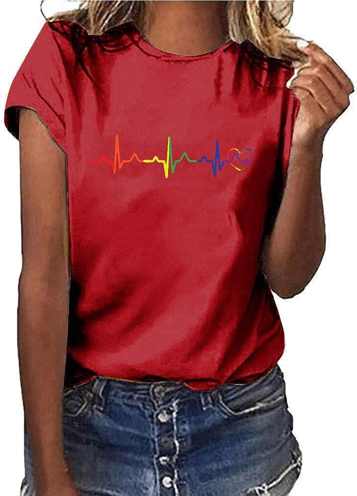 Darringls Camiseta para Mujer, Camiseta de Mujer Manga Corta Electrocardiograma Impresión Blusa Camisa Cuello Redondo Basica Camiseta Suelto Verano Tops Casual Fiesta