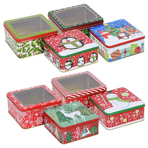 Christmas Empty Tins ([ Total 8 ct ] Square (Penguin, Snowman, Reindeer etc))