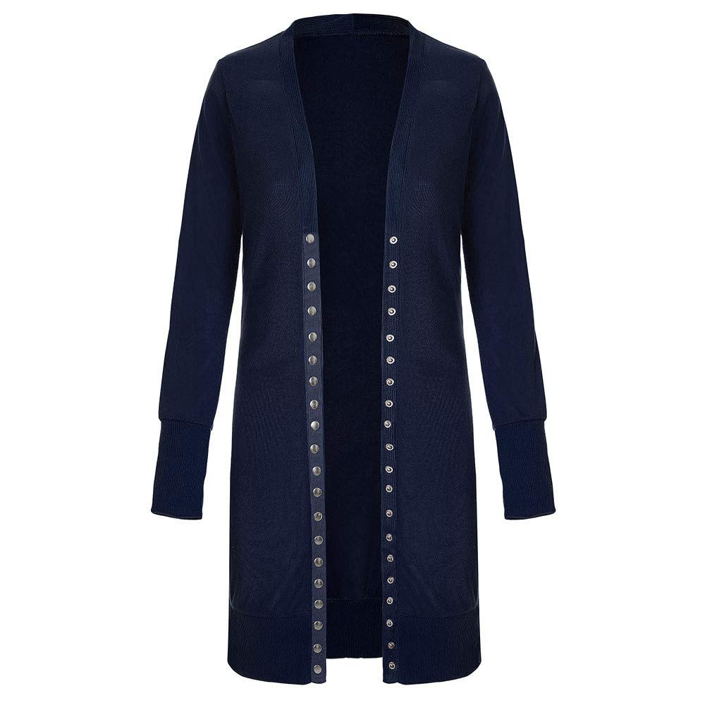 iDWZA Fashion Womens Long Sleeve Snap Button Down Solid Knit Ribbed Neckline Cardigans Coat
