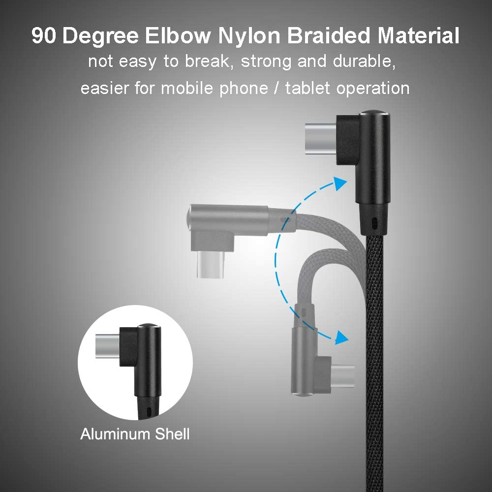 Type C to Type C Haoh 90 Degree Braided Wire Data Cable Portable Remote Controller Type C to iOS OTG Cable Compatible with DJI Mavic Air 2 Drone Accessories