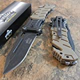New Master Desert Tan Tactical Rescue Stone Wash Blade Spring Assisted Pocket Eco'Gift LIMITED EDITION Knife with Sharp Blade