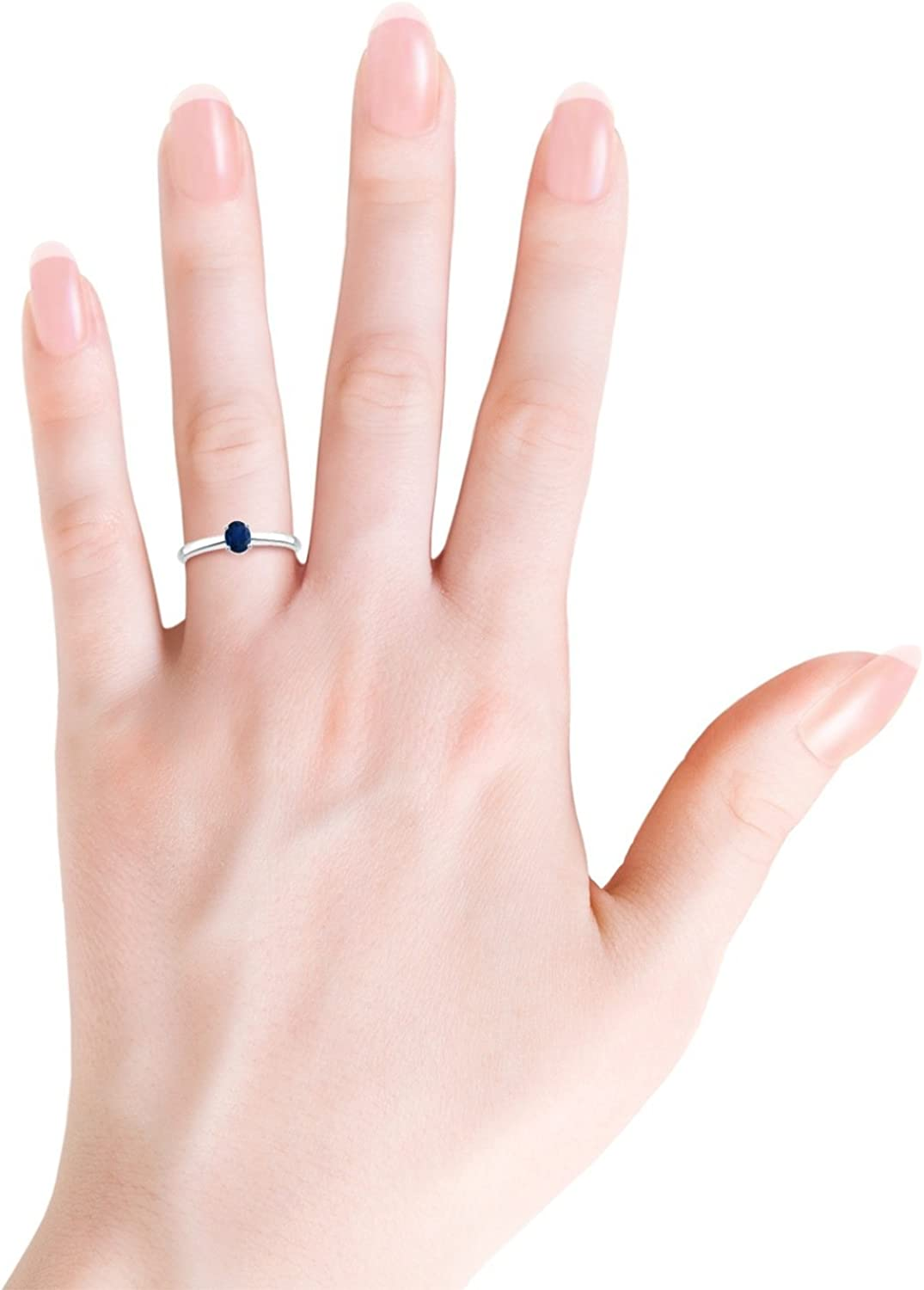 Classic Solitaire Oval Blue Sapphire Promise Ring 5x4mm Blue Sapphire