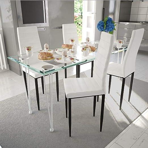 Retrome Juego de Comedor con 4 sillas y 1 Mesa de Cristal, Estilo ...