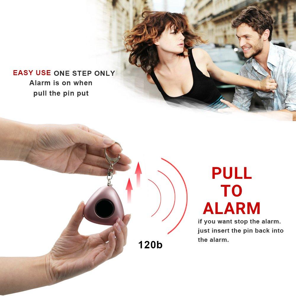 2 Pi/èce Batterie Incluse Alarme Porte Cl/é Anti Agression avec Lumi/ère LED Alarme durgence SOS pour Femmes Enfants /Étudiants Travailleurs de Nuit ERAY Alarme Personnelle 120dB
