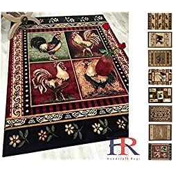 Handcraft Rug – Lodge, Cabin Nature and Animals Area Rug – Geometric Cabin Area Rug – Abstract,Black/Green/Red-Rooster/Flower (2 x 3 feet Doormat)