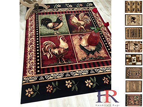 HR-Cabin Rug-Lodge, Cabin Nature and Animals Area Rug-Modern Geometric Cabin Area Rug-Abstract,Black/Green/Red-Rooster/Flower (5'2
