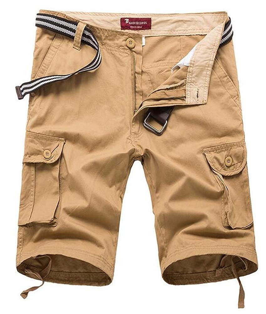 Plaid Five-Point Shorts Mens Casual Loose Mens Trousers qiu ping Shorts Multi-Pocket Pants Shorts Male