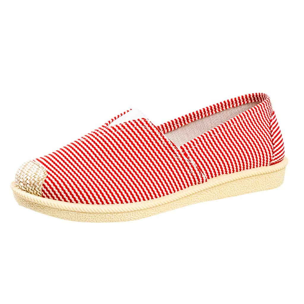 Womens Vintage Canvas Shoes Ulanda-EU Ladies Teen Girls Striped Flats Shoes Shoes Slip on Boat Shoes Casual Comfy Breathable Shoes