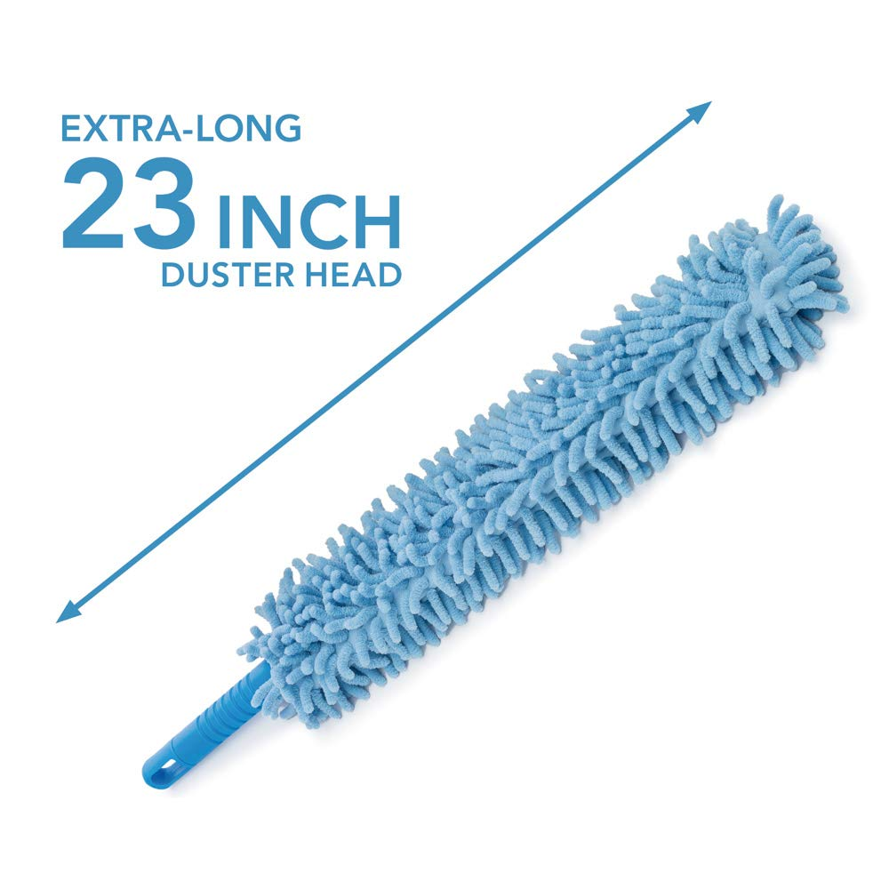4pcs Best Microfiber Duster with Extension Pole | Large Fluffy Microfiber Cobweb Duster, Extra Large Microfiber Feather Duster, Flexible Microfiber Ceiling & Fan Duster | 4-Foot Telescopic Pole by SKA HomeStore (Image #4)