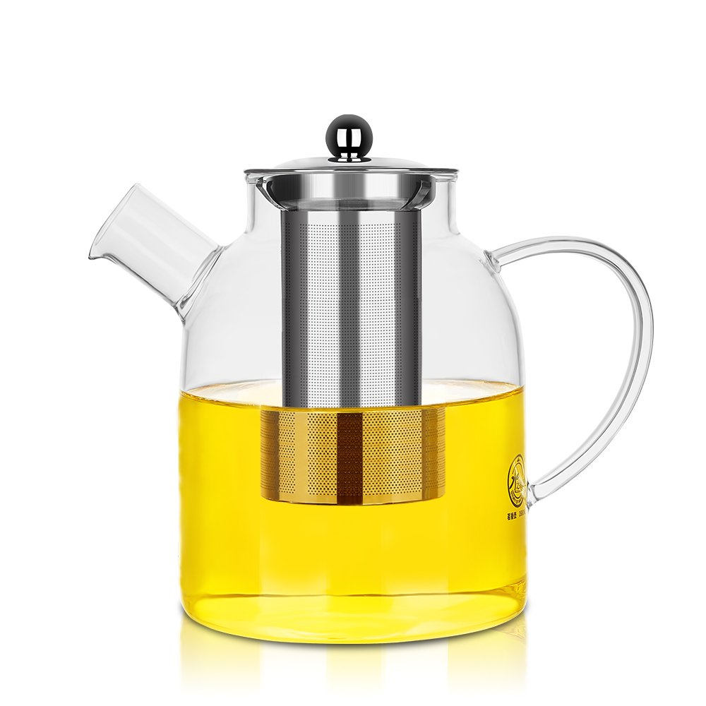 Glass Pitcher with Stainless Steel Lid and Strainer,Safe for Hot and Cold Water,Coffee,Juice,Tea,59 Ounces Suitable for 3-6 People