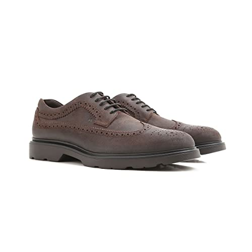 Hogan Derby Brogue H304 New Route HXM3040W36297HS805 Marrone Uomo 5 ... 37e94aa5ffd