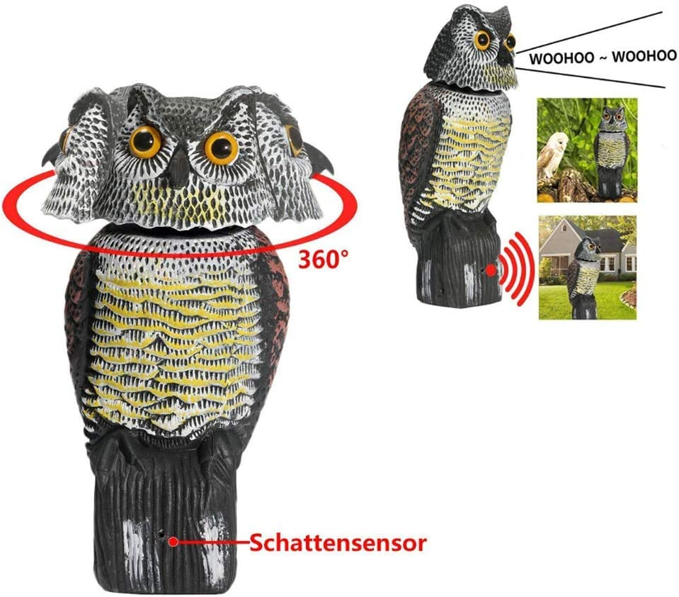 AMILIEe Owl Decoy 360 Rotate Head to Scare Birds, Scarecrow Owl Decoy Statue Realistic Scary Sounds & Shadow Fake Owl Outdoor Pest Bird Deterrent for Patio Yard Garden Protector