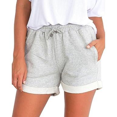 noch nicht vulgär Verarbeitung finden neues BakeLIN Shorts Damen Sommer Kurze Hose Einfarbig Crimpen Lose Strand Sport  Hot Pants (Schwarz Grau Rosa Gelb, S~XL)