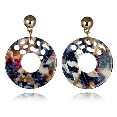 58edf0edb390 Amazon.com  Vinty Jewelry Multicolor Resin Hoop Earrings For Women ...