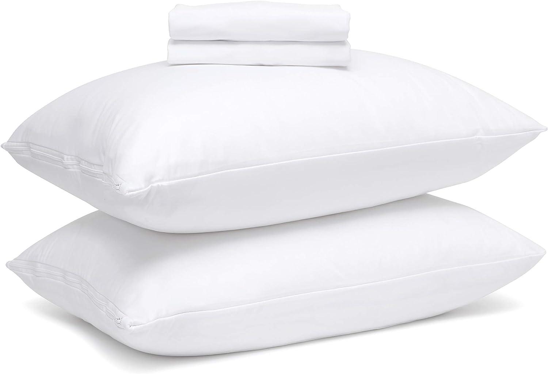 Mastertex Guardmax Bed Bug Proof Waterproof Pillow Protectors Hypoallergenic Covers - Zippered Encasement Style - Set of 4 (Queen - 4 Pack)