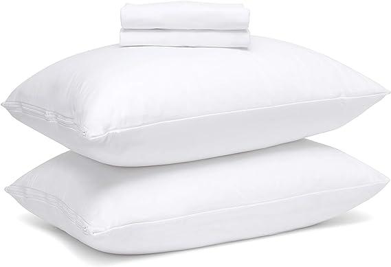 Guardmax Waterproof Pillow Protectors Queen Bed Bug Proof Hypoallergenic Zippered Encasement Covers Set Of 2 Queen Size 20 X30 Home Kitchen Amazon Com