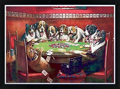 Dogs Playing Poker Sympathy By C.M. Coolidge Framed Poster (Coolidge Dogs Playing Pool)