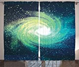 Ambesonne Home Decor Collection, Outer Space Themed Image Spiral Galaxy Stardust with Light Astromony Cosmos Milkway Stars, Living Room Bedroom Curtain 2 Panels Set, 108 X 84 Inches, Navy Teal For Sale