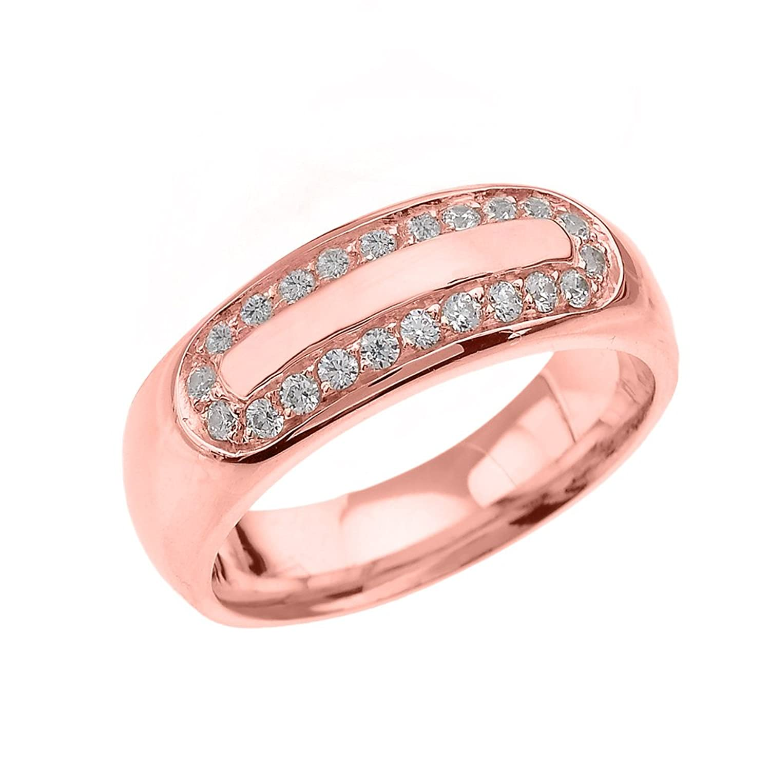 Men\'s 10k Rose Gold Diamond Comfort Fit Wedding Band Ring|Amazon.com
