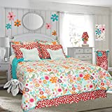 Cotton Tale Designs 100% Cotton - Colorful Contemporary Bright Floral & Bold Polka Dot 3 Piece Full/Queen Bedding Set, Lizzie