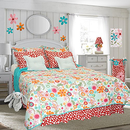 Cotton Tale Designs 100% Cotton - Colorful Red, Pink, Orange, Turquoise Blue, Contemporary Flower Bright Fun Floral & Bold Polka Dots/Spot 8 Piece Full Reversible Quilt Bedding Set, Lizzie for Girls