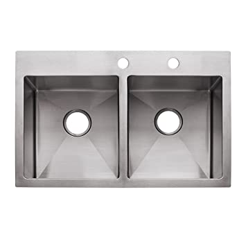 Franke HF3322 2 Vector 33u0026quot; Dual Mount Double Bowl 2 Hole Kitchen Sink