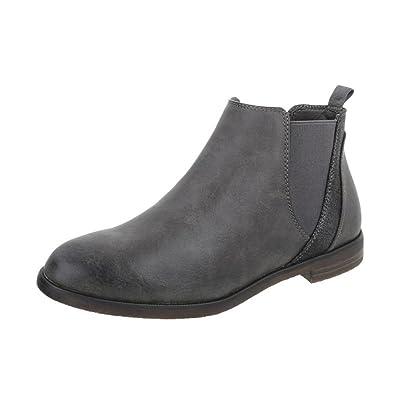 Cingant Woman Damen Stiefelette/Flache Sohle/Blockabsatz/Halbhohe Stiefel/Damenschuhe/Boots/Blau, EU 36
