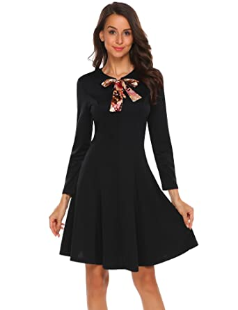 Misakia Women s Vintage Long Sleeve Lace Up Bow Tie Fit and Flare ... 64dedfc04