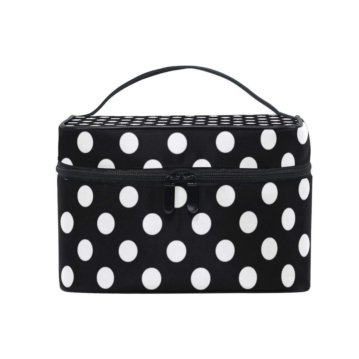 8ab2854c7e1f Amazon.com   Toiletry Bag Black White Polka Dot Cosmetic Bags Travel Makeup  Train Cases Storage Organizer   Beauty