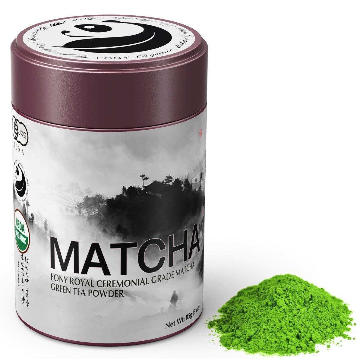 FONY 85g Japanese Matcha Green Tea Powder, USDA Organic - Authentic Ceremonial Grade (Royal, Tin)