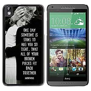 YOYOYO Smartphone Protección Defender Duro Negro Funda Imagen Diseño Carcasa Tapa Case Skin Cover Para HTC DESIRE 816 - angustias amor familia blanca negro