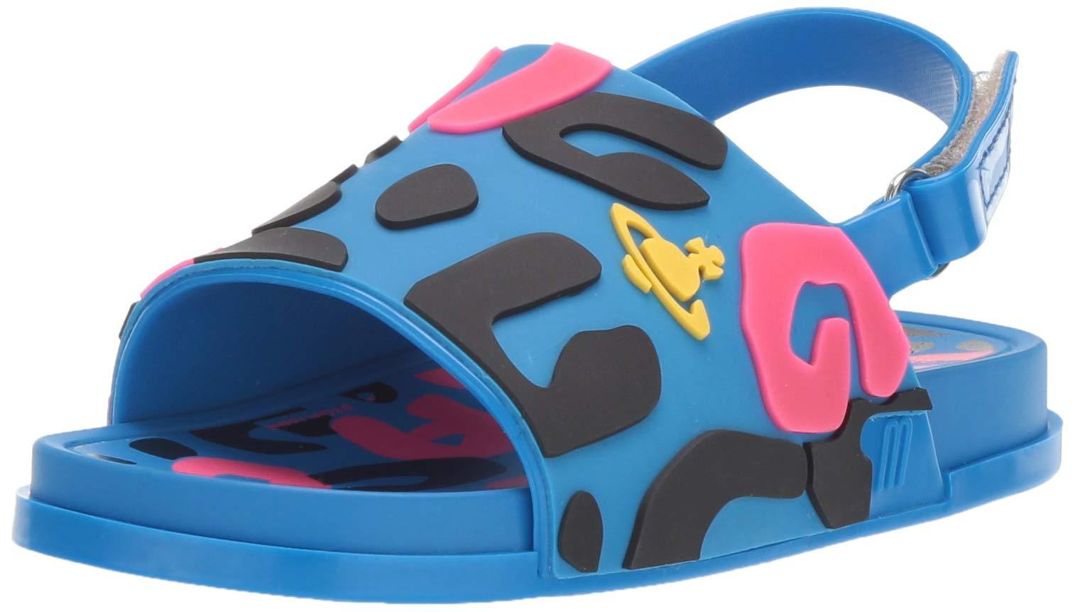 Mini Melissa Girls' VWA + Mini Beach Slide Sandal II, Blue/Pink/Black, 12 Medium US Little Kid