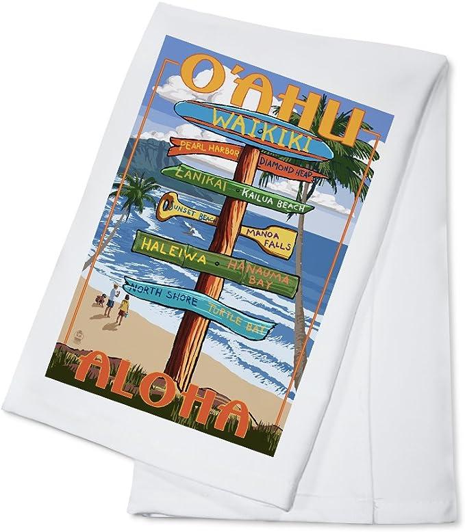 Amazon Com Waikiki Oahu Hawaii Aloha Sign Destinations 100 Cotton Kitchen Towel Kitchen Dining