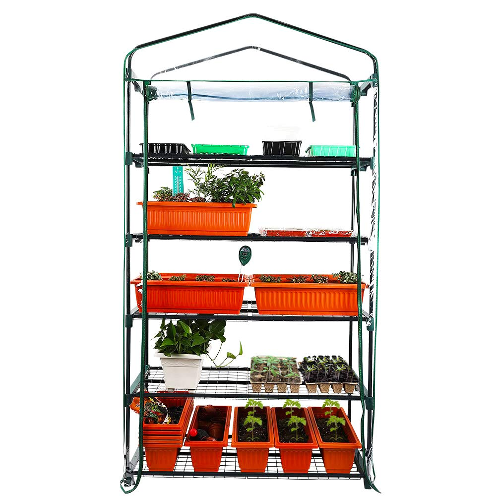 Homes Garden Upgrade Wider 5 Tier Greenhouse 39 in. W x 19 in. D x 76 in. H Portable Indoor Outdoor Mini Greenhouse Clear PVC Cover Zipper Roll Up #G311A00 by Homes Garden