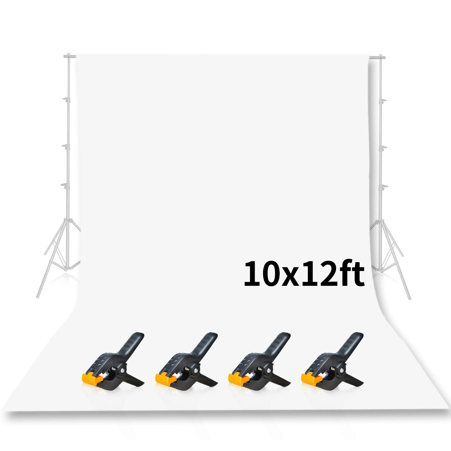 Emart Photo Studio 10 x 12ft White Backdrop Screen, Seamless Chromakey Backdrop Muslin Background Screen for Photography