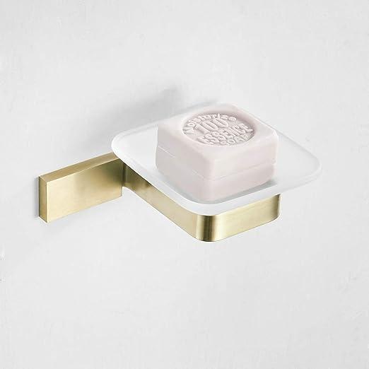 Jabonera para baño de acero inoxidable cepillado dorado ...