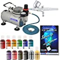 Master Airbrush Cake Decorating Kit with 12 .7 fl oz Chefmaster Airbrush Colors, and Air Compressor