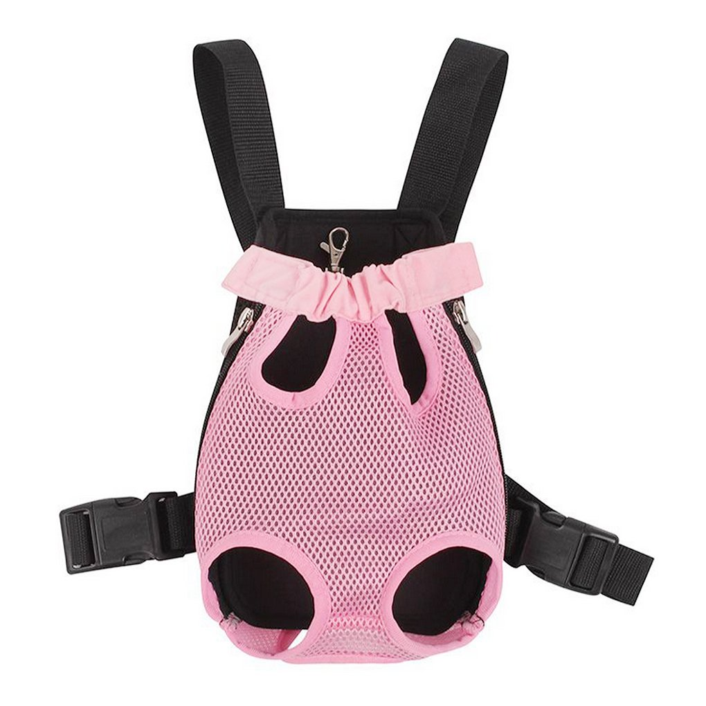 FakeFace Fashion Pet Dog Doggy Sling Legs Out Design Outdoor Travel Durable Nylon Portable Mesh Front Chest Pack Carrier Backpack Shoulder Bag For Dogs Cats Puppy Carriers Pet Tote Bag - Pink,M