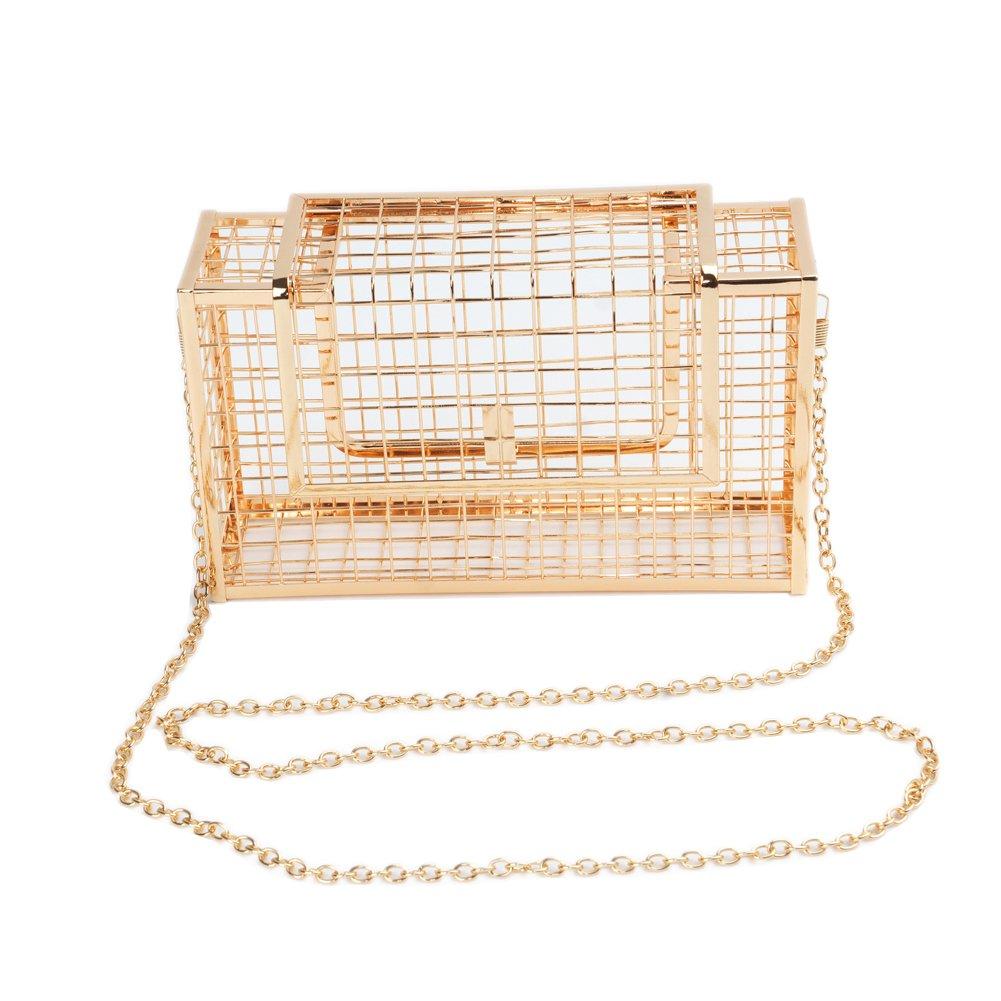 DSAKGTE Womens Box Metal Clutch Evening Bags Unique Cage Bag Handbags (Gold)