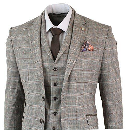 Da Nocciola Pezzi Vintage Tweed 3 Simon Classico Scacchi Templer Fit Slim Abito Retro Regular Uomo xqgYwxpRO