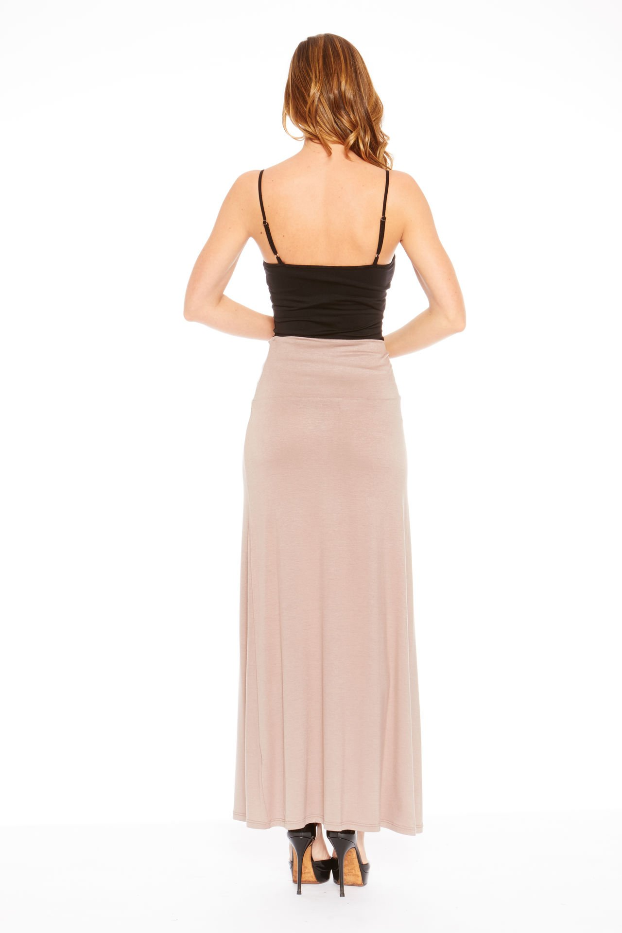 Red Hanger Women's Stylish Solid Long Maxi Skirt - Made in USA, Taupe-1X by Red Hanger (Image #3)