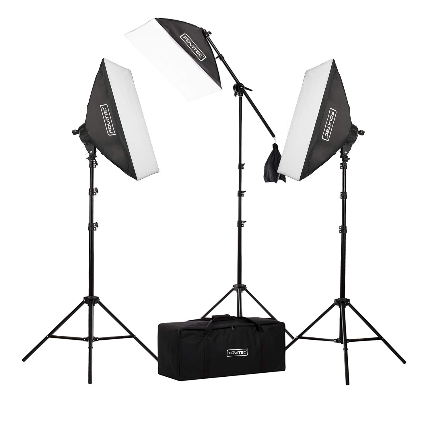 Fovitec - 3-Light 2500W Fluorescent Lighting Kit for Photo & Video with 20''x28'' Softboxes, stands, Boom Stand, & Carry Case by Fovitec